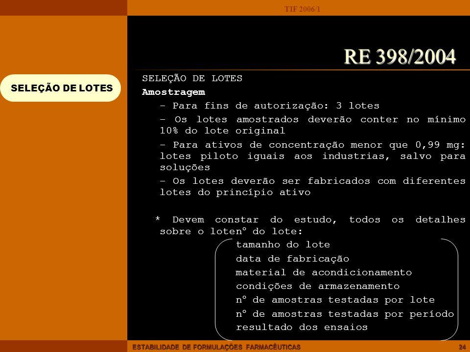 RE 398/2004 SELEÇÃO DE LOTES Amostragem