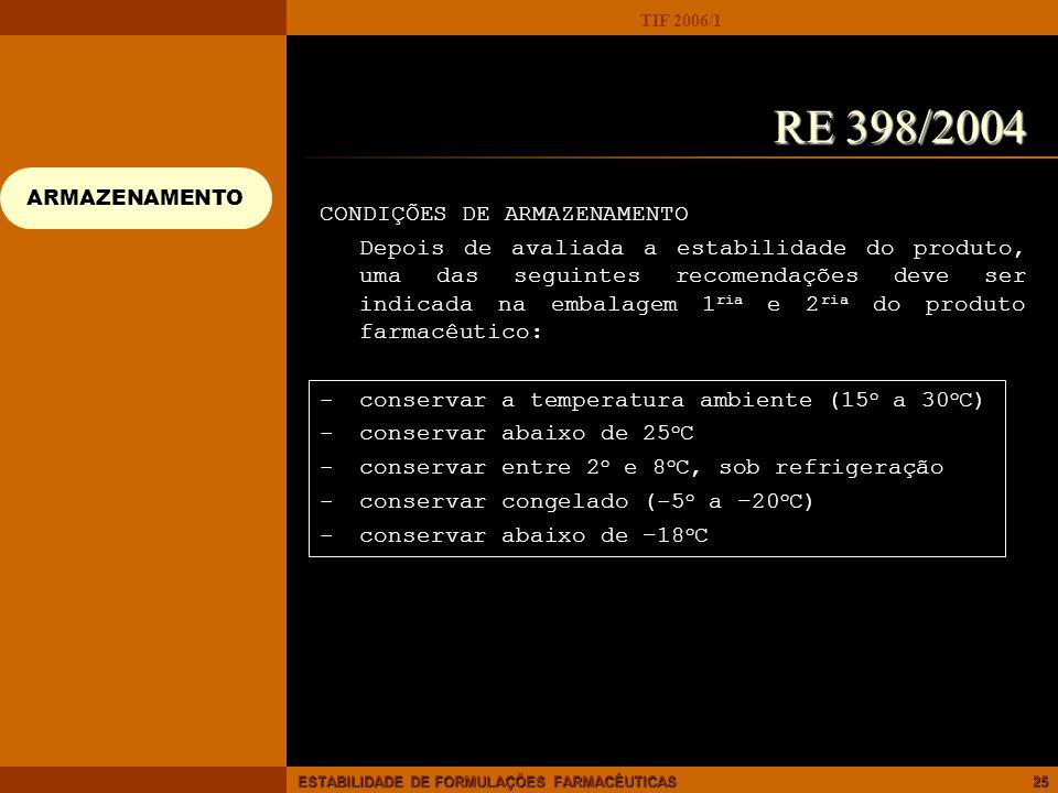RE 398/2004 CONDIÇÕES DE ARMAZENAMENTO