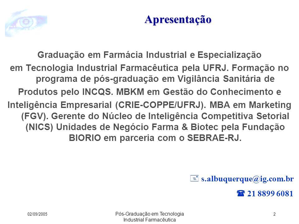 Apresentação Graduação em Farmácia Industrial e Especialização