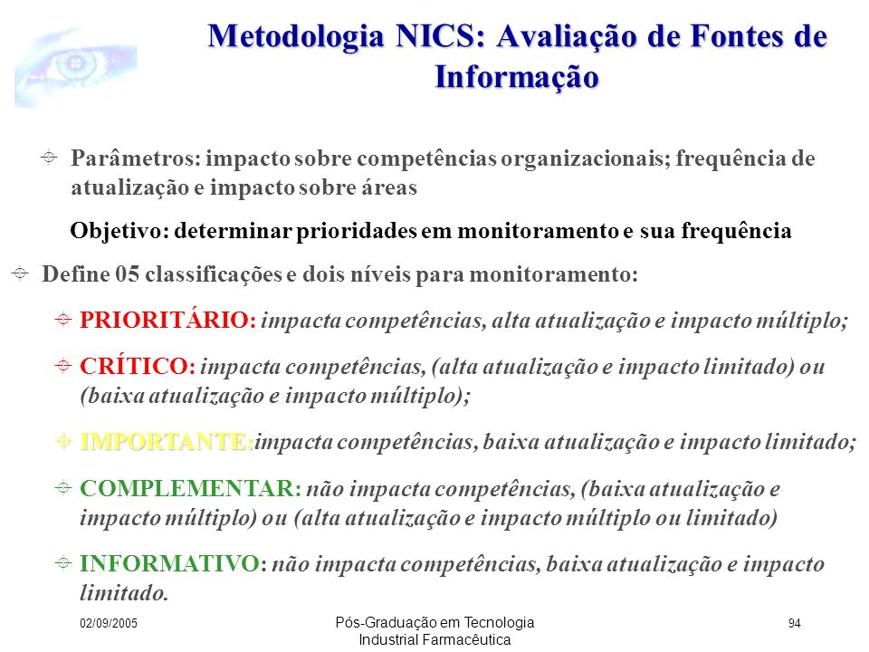 Metodologia NICS: Avaliação de Fontes de Informação