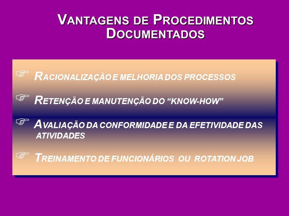 VANTAGENS DE PROCEDIMENTOS DOCUMENTADOS