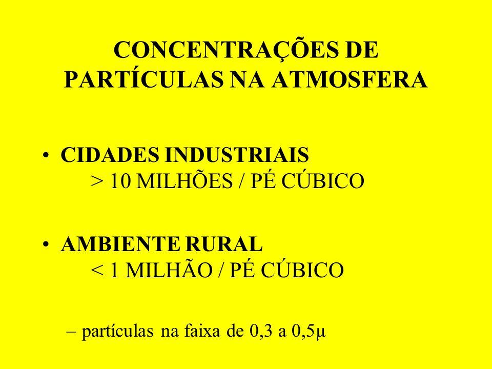CONCENTRAÇÕES DE PARTÍCULAS NA ATMOSFERA