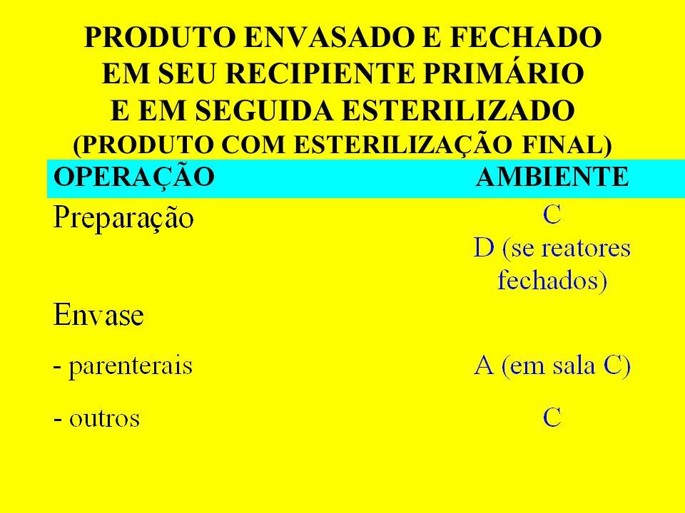 PRODUTO ENVASADO E FECHADO EM SEU RECIPIENTE PRIMÁRIO E EM SEGUIDA ESTERILIZADO (PRODUTO COM ESTERILIZAÇÃO FINAL)