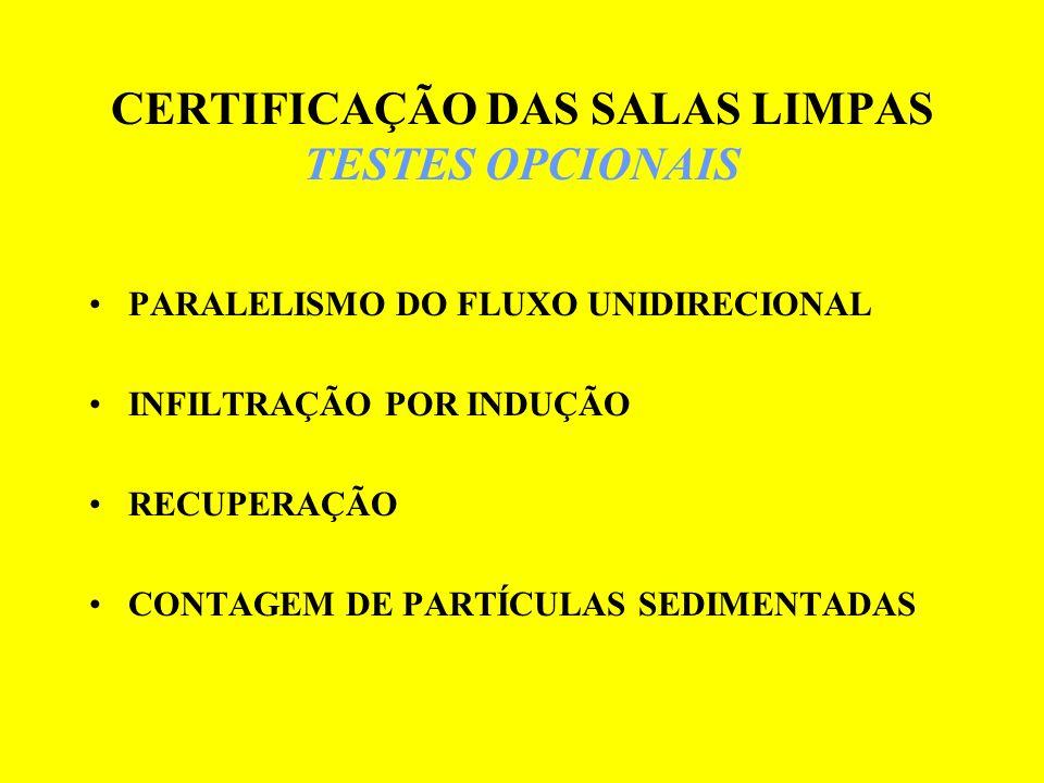 CERTIFICAÇÃO DAS SALAS LIMPAS TESTES OPCIONAIS