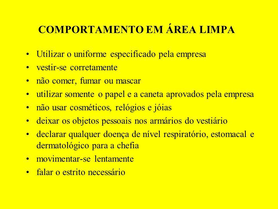 COMPORTAMENTO EM ÁREA LIMPA