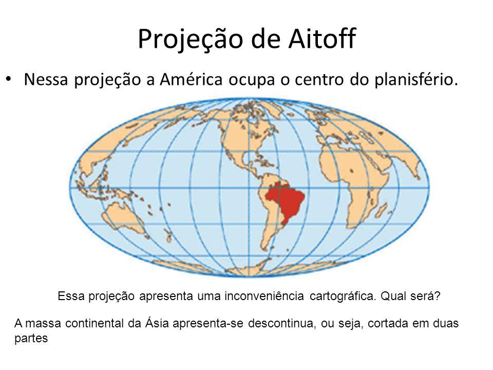 Projeção de Aitoff Nessa projeção a América ocupa o centro do planisfério. Essa projeção apresenta uma inconveniência cartográfica. Qual será