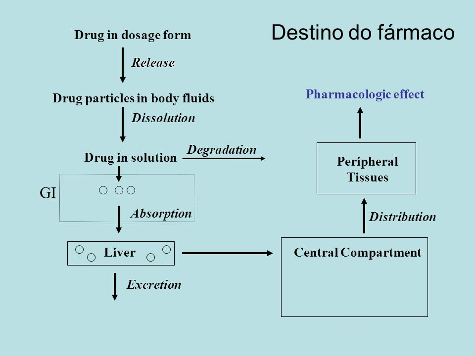 Destino do fármaco GI Drug in dosage form Release Pharmacologic effect