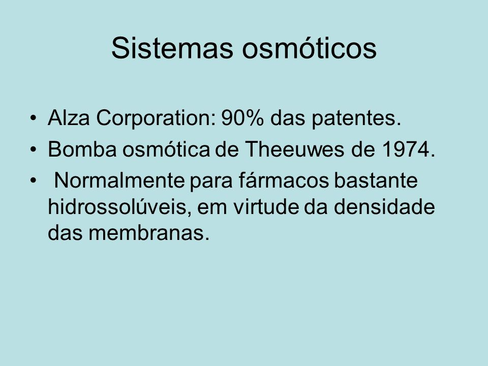 Sistemas osmóticos Alza Corporation: 90% das patentes.
