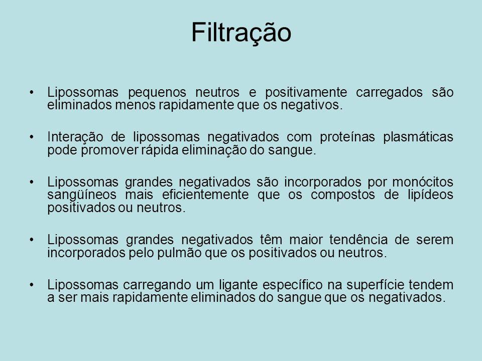 Filtração Lipossomas pequenos neutros e positivamente carregados são eliminados menos rapidamente que os negativos.