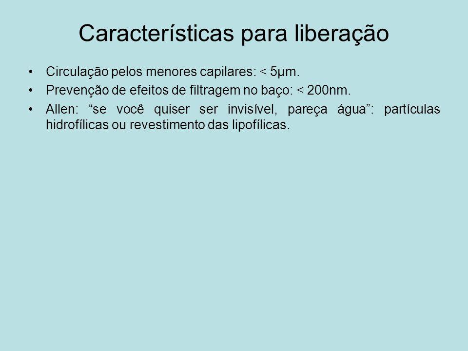 Características para liberação