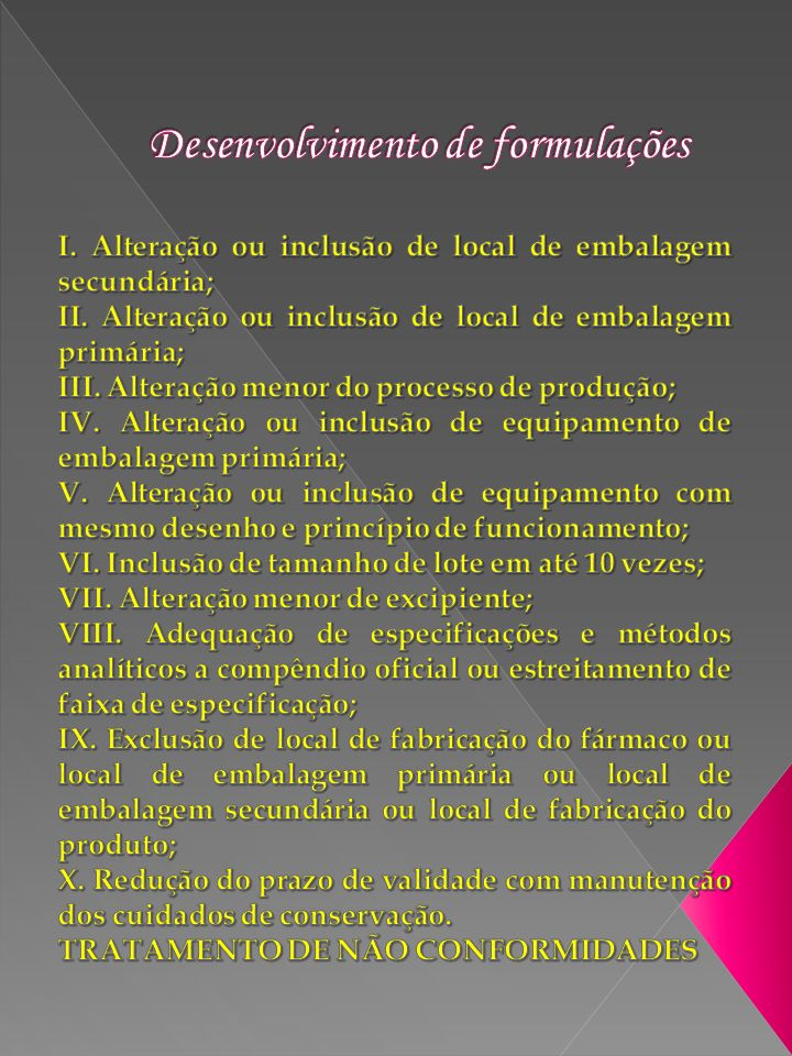 Desenvolvimento de formulações