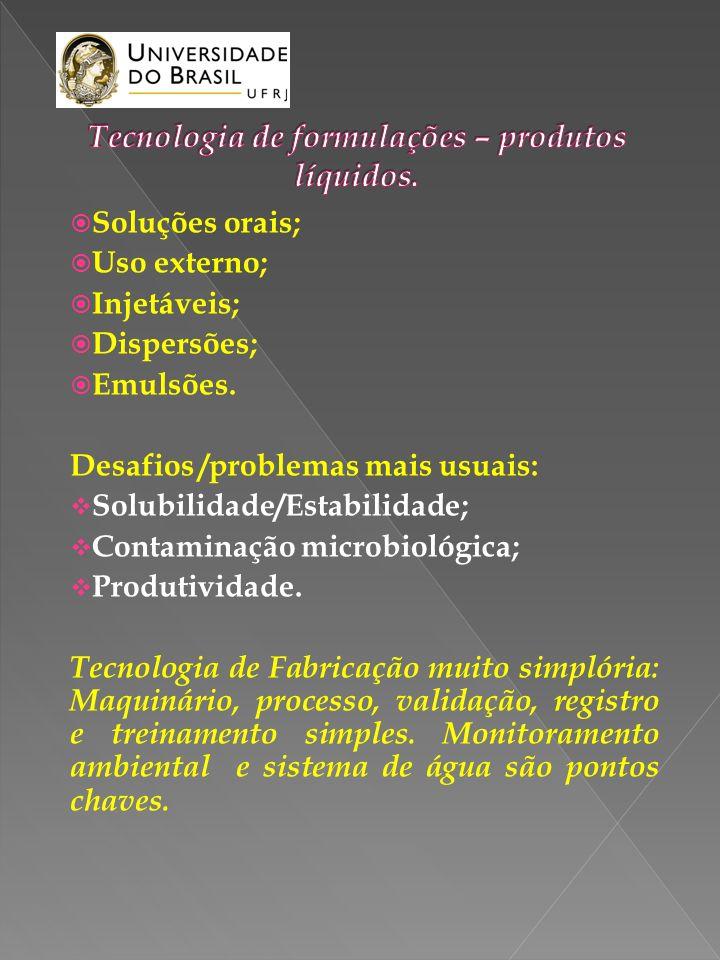 Tecnologia de formulações – produtos líquidos.