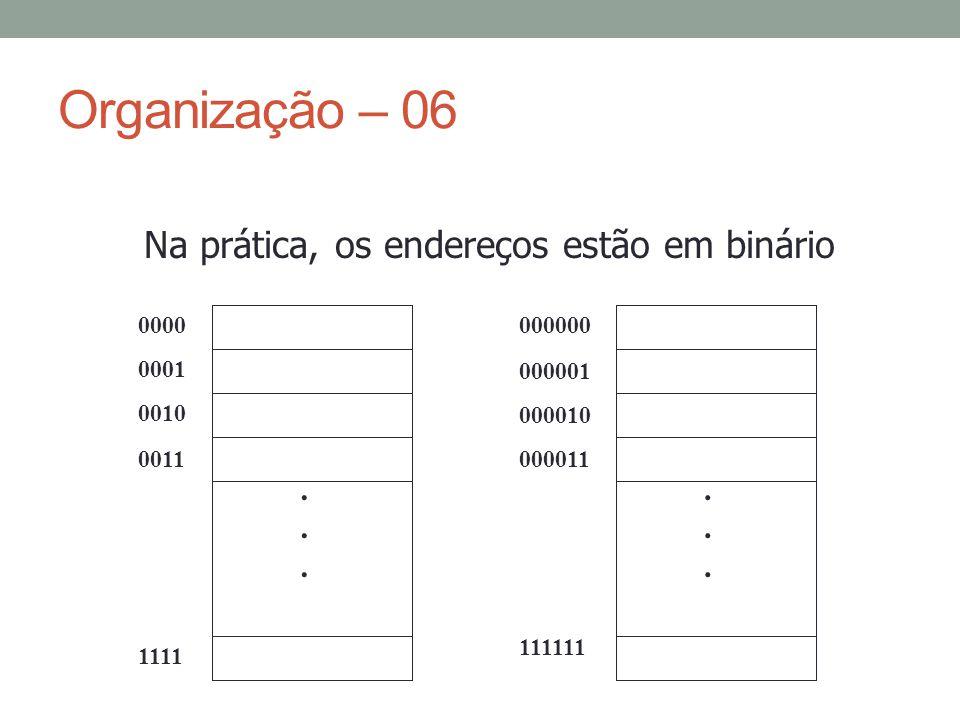 Organização – 06 Na prática, os endereços estão em binário . 0000 0001