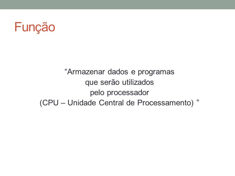 Função Armazenar dados e programas que serão utilizados pelo processador (CPU – Unidade Central de Processamento)