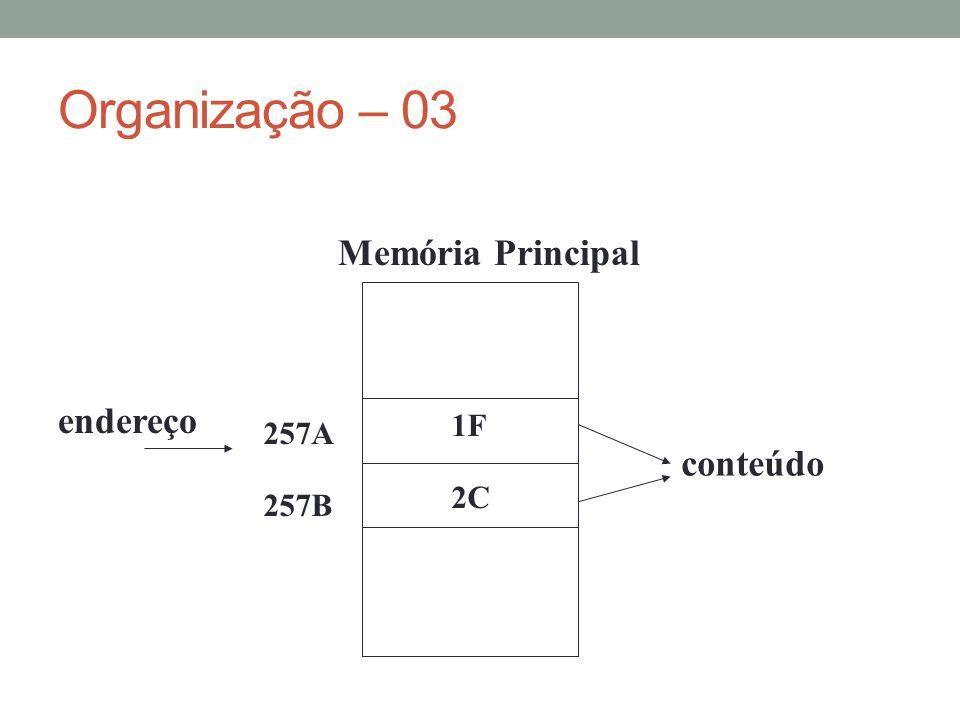 Organização – 03 Memória Principal endereço 1F 257A conteúdo 2C 257B