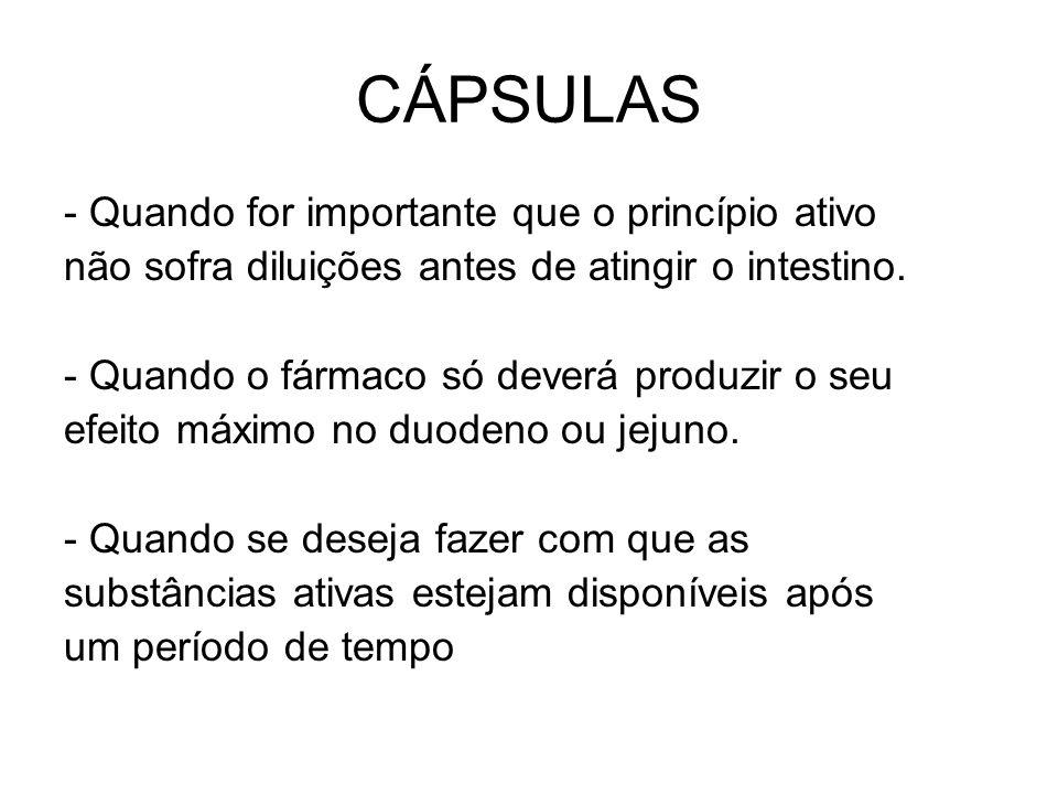 CÁPSULAS - Quando for importante que o princípio ativo