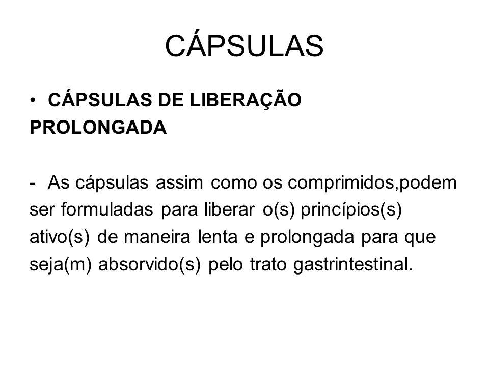 CÁPSULAS CÁPSULAS DE LIBERAÇÃO PROLONGADA
