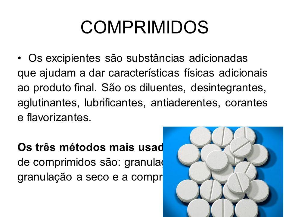 COMPRIMIDOS Os excipientes são substâncias adicionadas