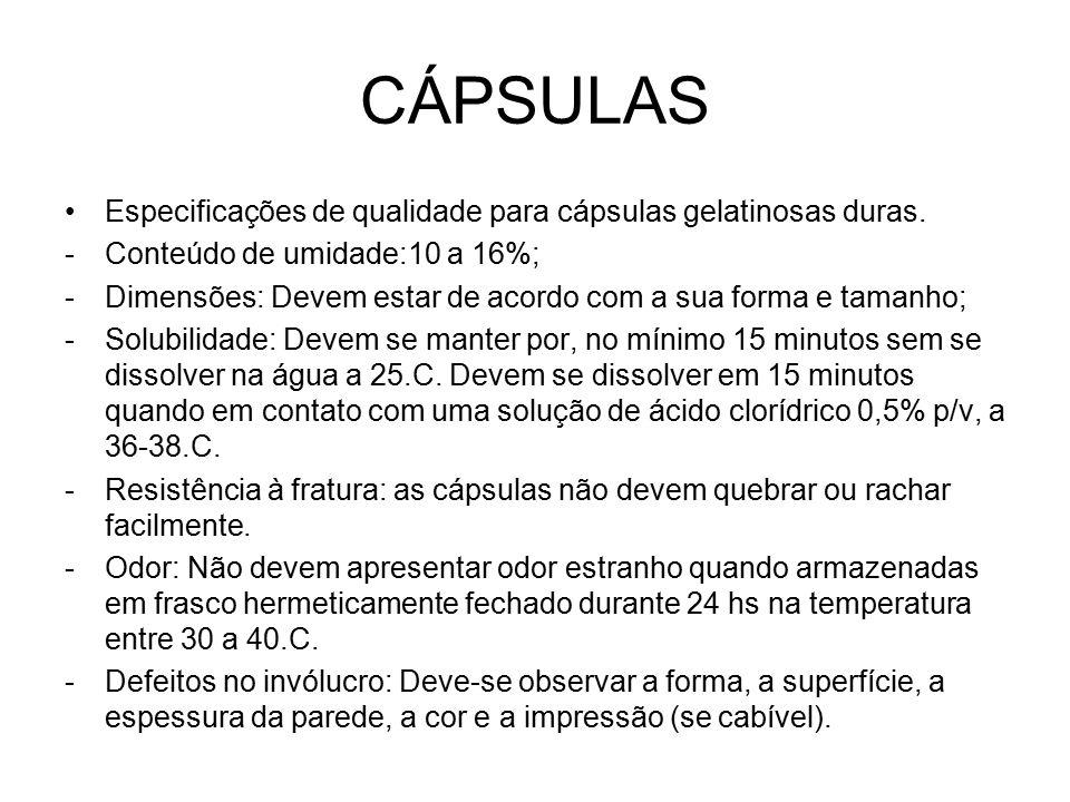 CÁPSULAS Especificações de qualidade para cápsulas gelatinosas duras.