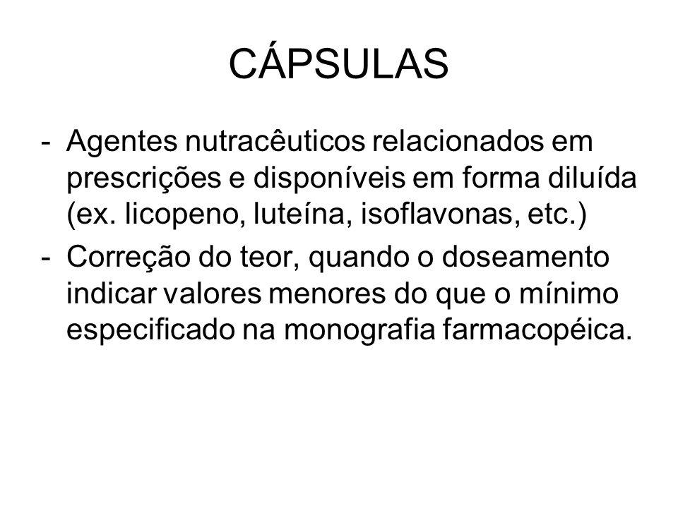 CÁPSULAS Agentes nutracêuticos relacionados em prescrições e disponíveis em forma diluída (ex. licopeno, luteína, isoflavonas, etc.)