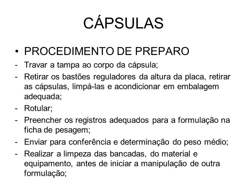 CÁPSULAS PROCEDIMENTO DE PREPARO Travar a tampa ao corpo da cápsula;