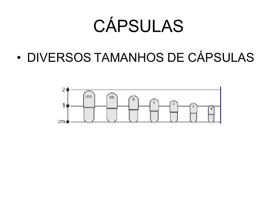CÁPSULAS DIVERSOS TAMANHOS DE CÁPSULAS