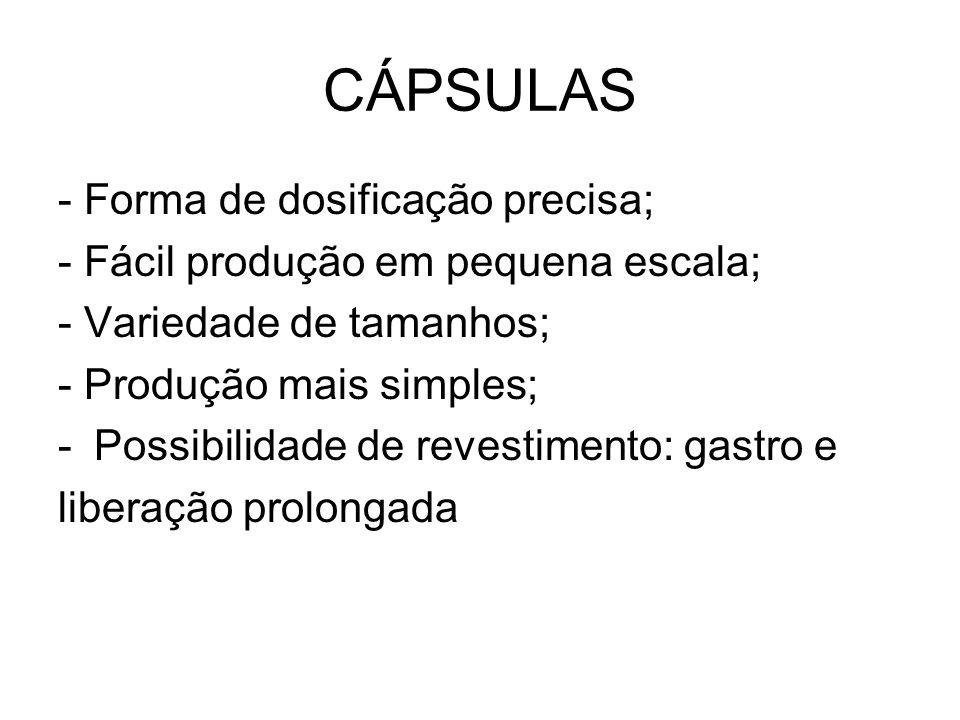 CÁPSULAS - Forma de dosificação precisa;