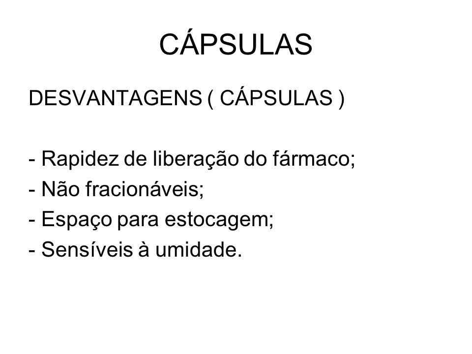 CÁPSULAS DESVANTAGENS ( CÁPSULAS ) - Rapidez de liberação do fármaco;