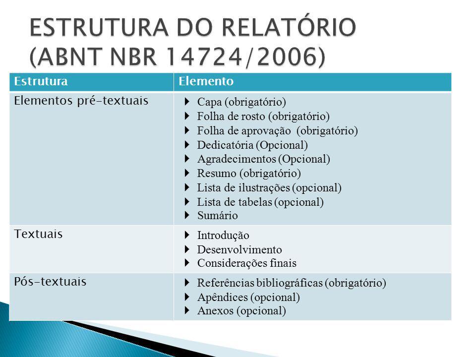 ESTRUTURA DO RELATÓRIO (ABNT NBR 14724/2006)