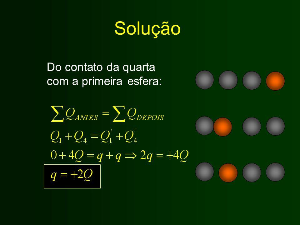 Solução Do contato da quarta com a primeira esfera: