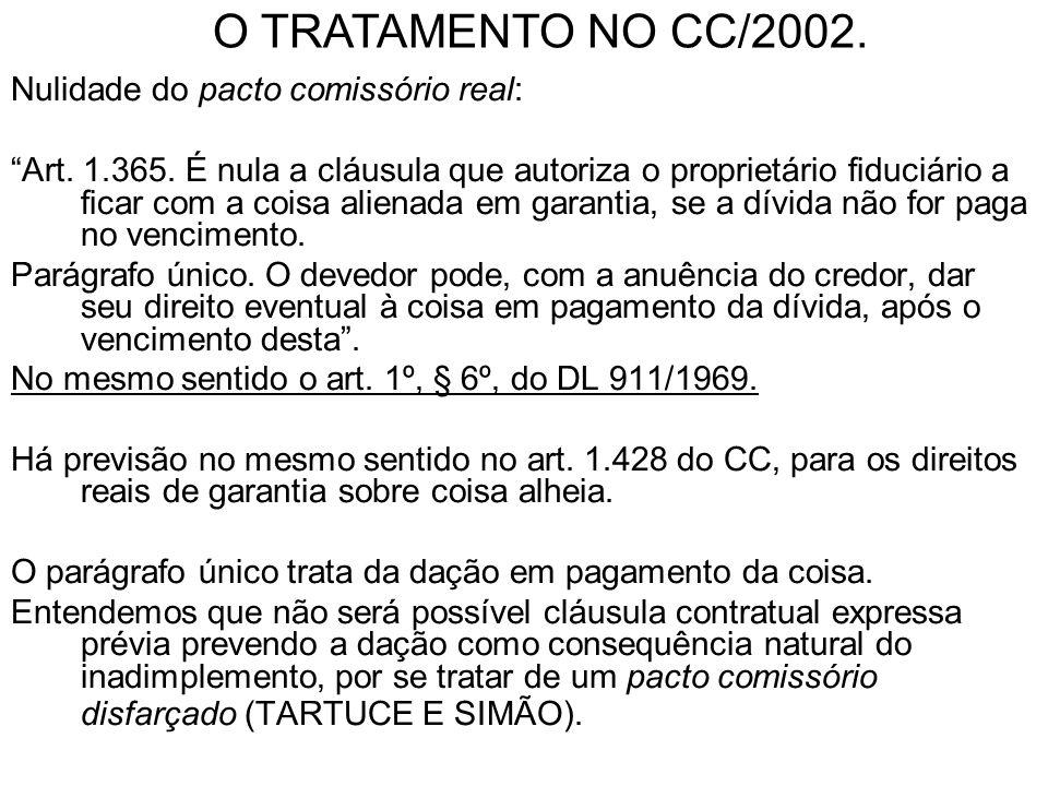 O TRATAMENTO NO CC/2002. Nulidade do pacto comissório real: