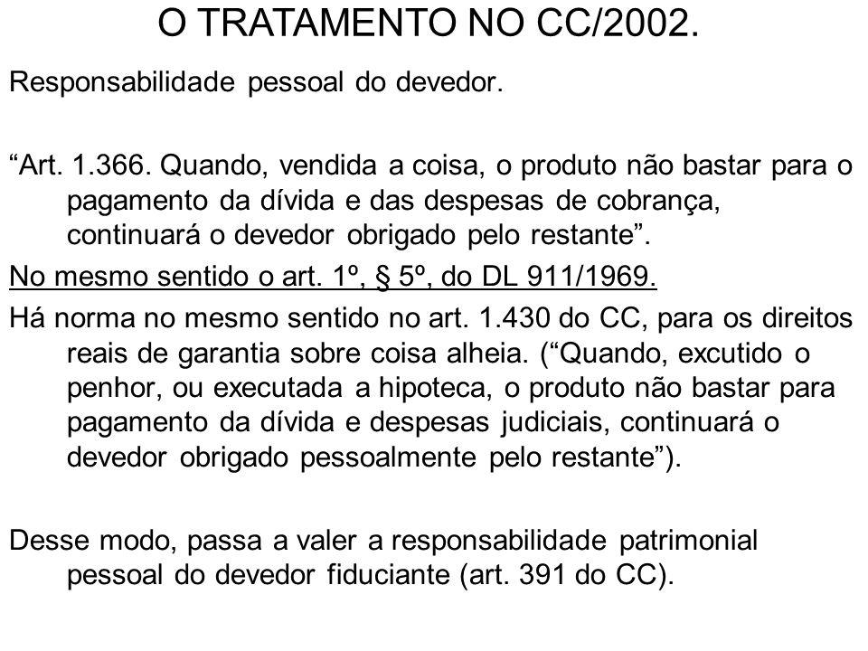 O TRATAMENTO NO CC/2002. Responsabilidade pessoal do devedor.