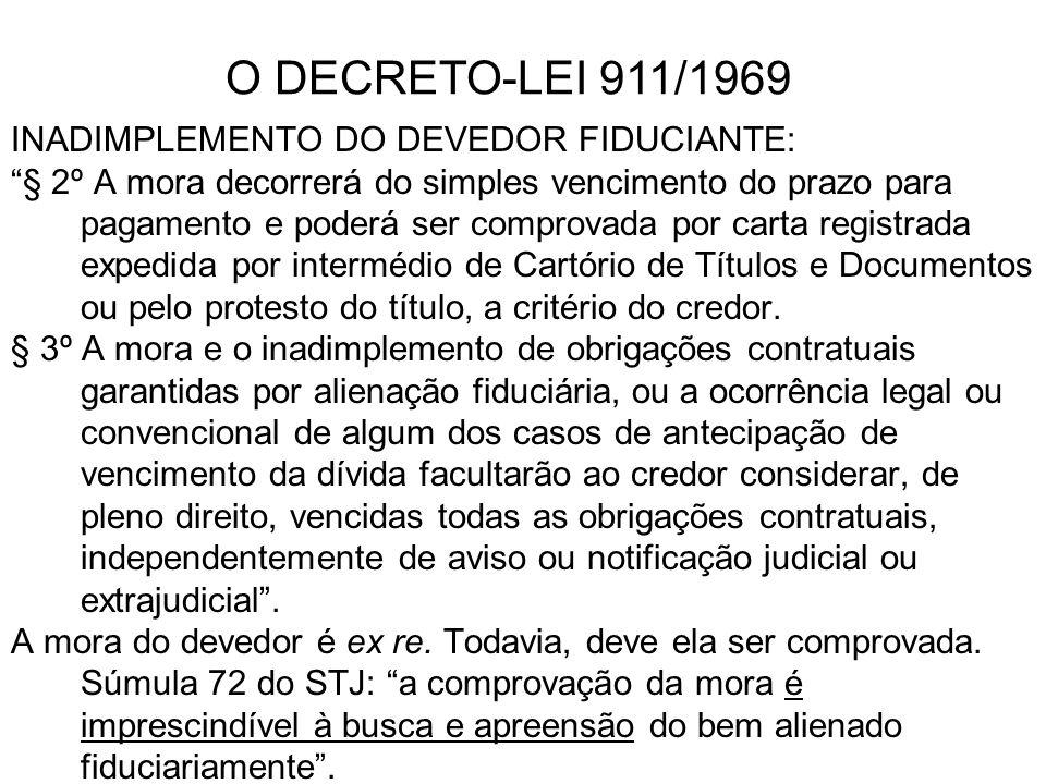 O DECRETO-LEI 911/1969 INADIMPLEMENTO DO DEVEDOR FIDUCIANTE:
