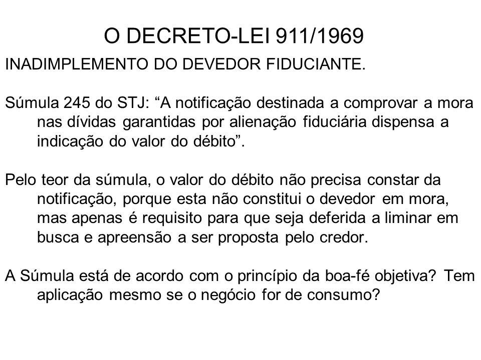 O DECRETO-LEI 911/1969 INADIMPLEMENTO DO DEVEDOR FIDUCIANTE.