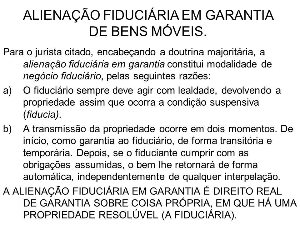 ALIENAÇÃO FIDUCIÁRIA EM GARANTIA DE BENS MÓVEIS.