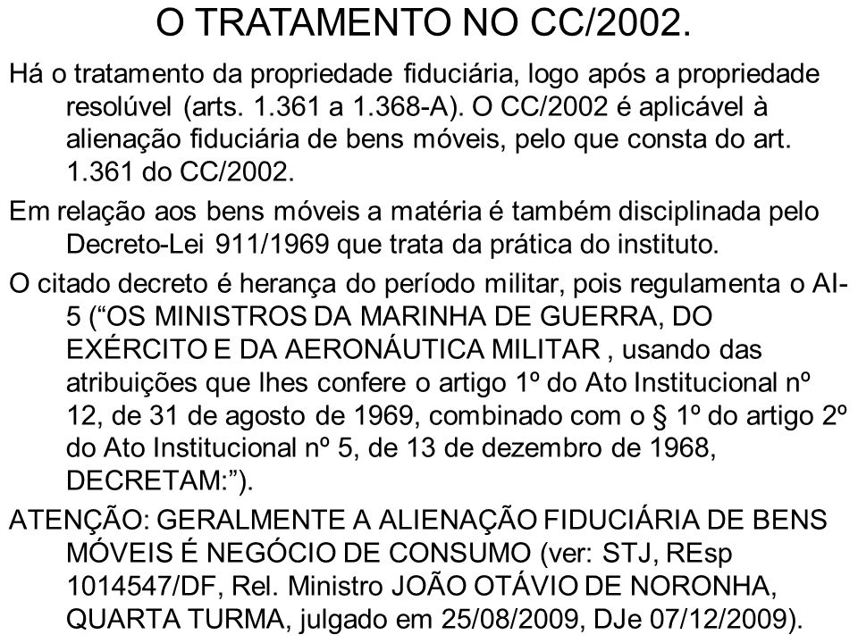 O TRATAMENTO NO CC/2002.