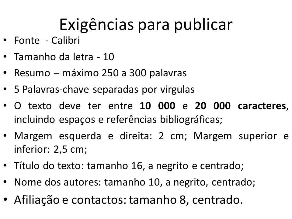 Exigências para publicar