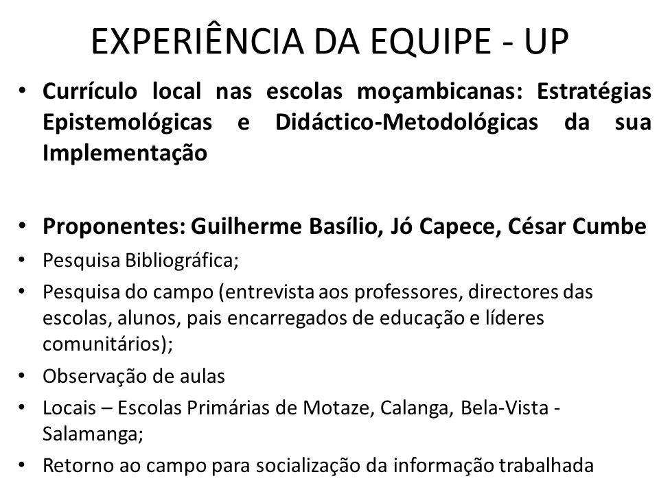 EXPERIÊNCIA DA EQUIPE - UP
