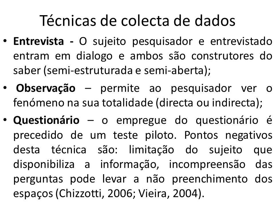 Técnicas de colecta de dados