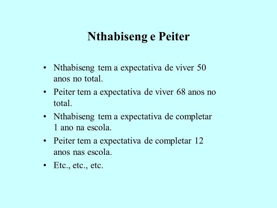 Nthabiseng e Peiter Nthabiseng tem a expectativa de viver 50 anos no total. Peiter tem a expectativa de viver 68 anos no total.