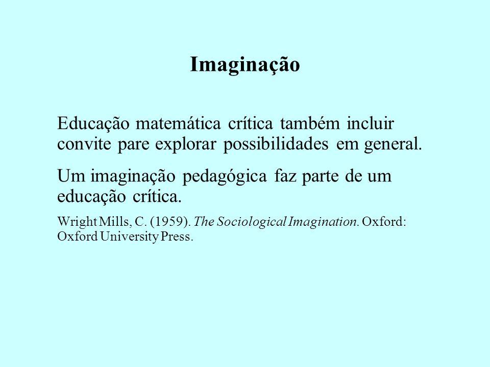 Imaginação Educação matemática crítica também incluir convite pare explorar possibilidades em general.