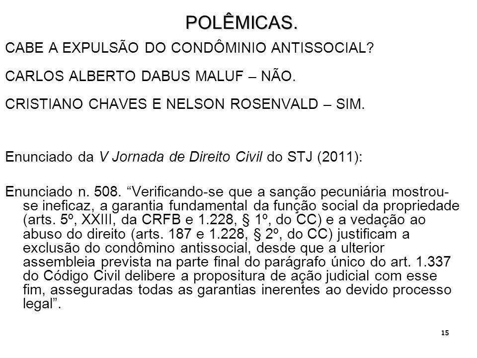 POLÊMICAS. CABE A EXPULSÃO DO CONDÔMINIO ANTISSOCIAL