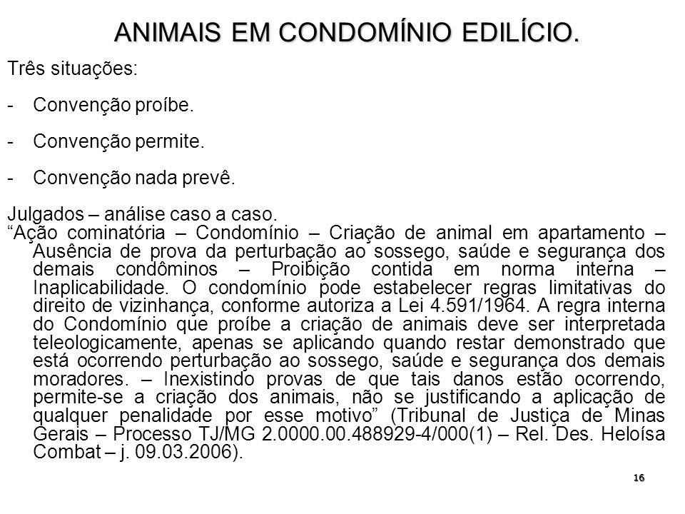 ANIMAIS EM CONDOMÍNIO EDILÍCIO.