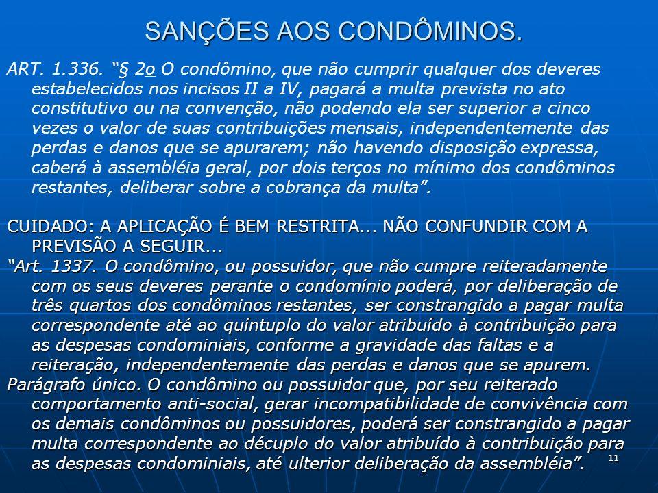 SANÇÕES AOS CONDÔMINOS.
