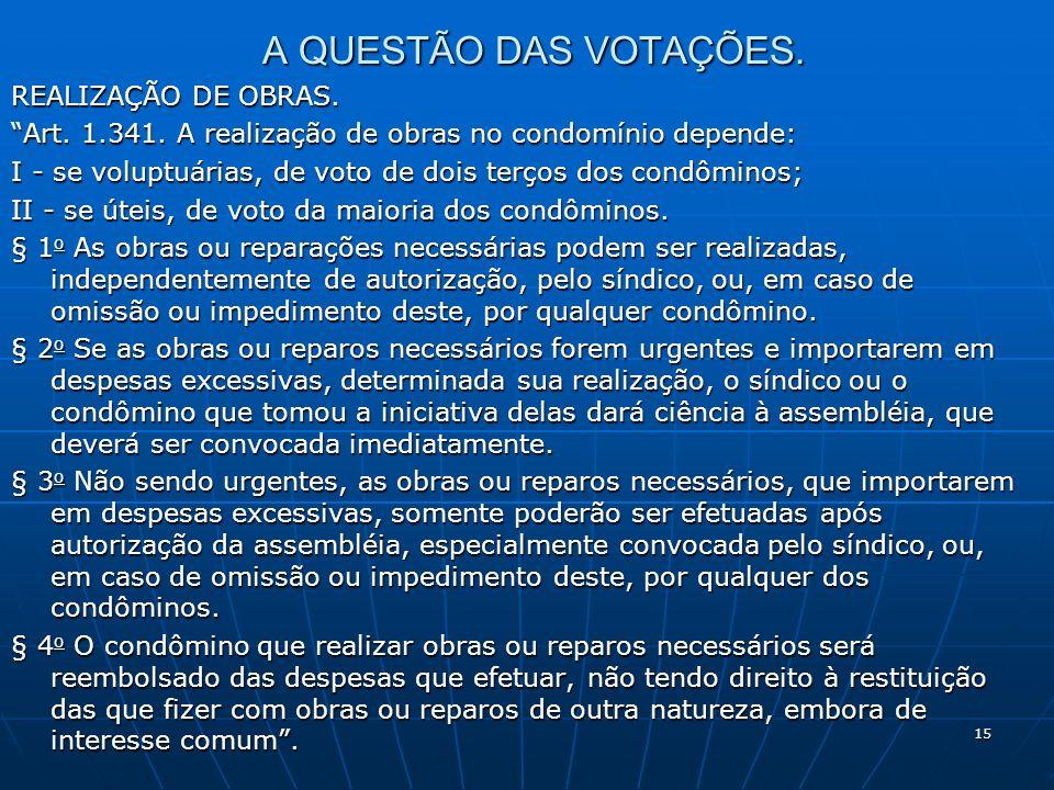 A QUESTÃO DAS VOTAÇÕES. REALIZAÇÃO DE OBRAS.