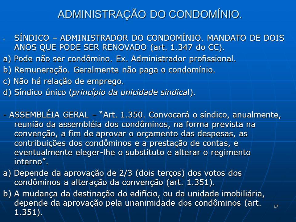 ADMINISTRAÇÃO DO CONDOMÍNIO.