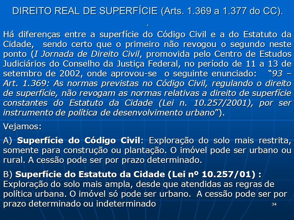 DIREITO REAL DE SUPERFÍCIE (Arts. 1.369 a 1.377 do CC). .