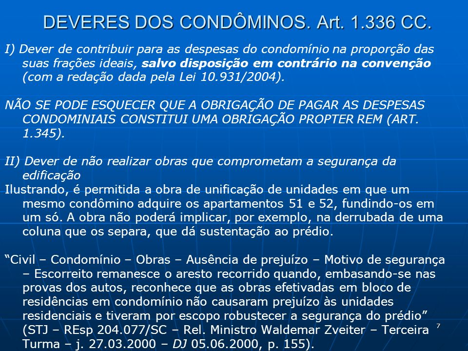 DEVERES DOS CONDÔMINOS. Art CC.