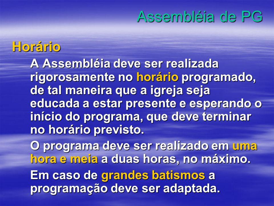 Assembléia de PG Horário
