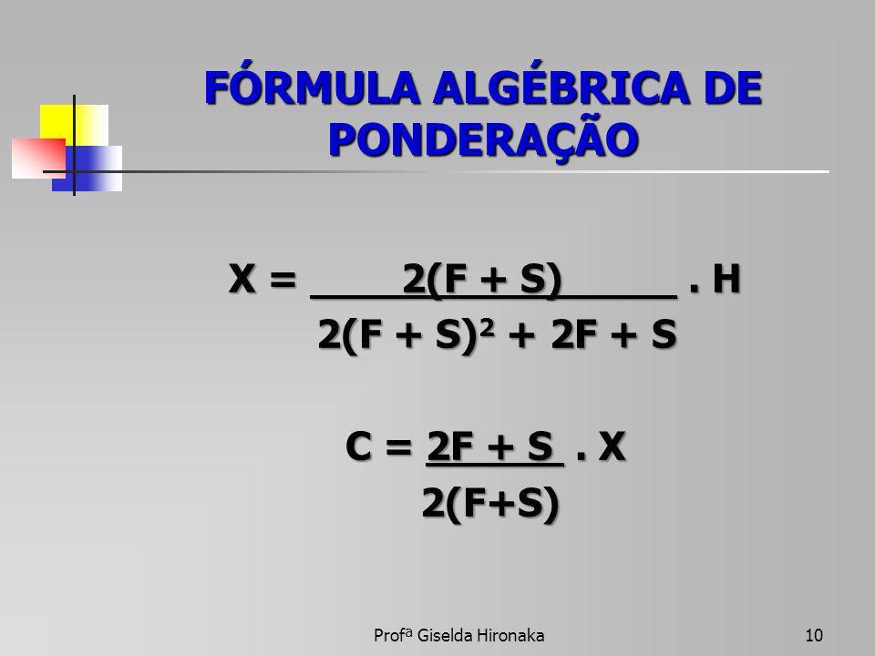 FÓRMULA ALGÉBRICA DE PONDERAÇÃO